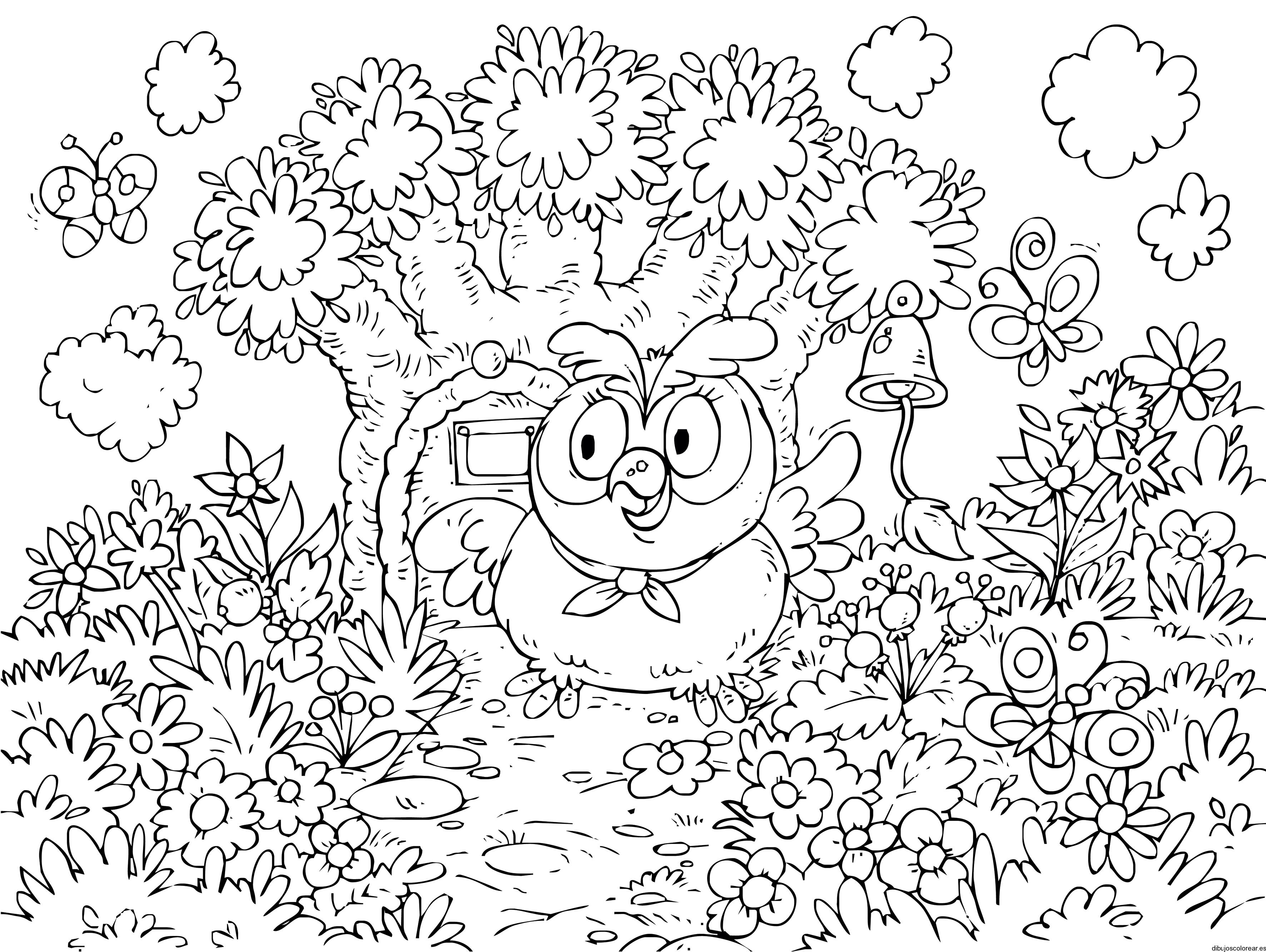 Dibujo de un búho en su casa