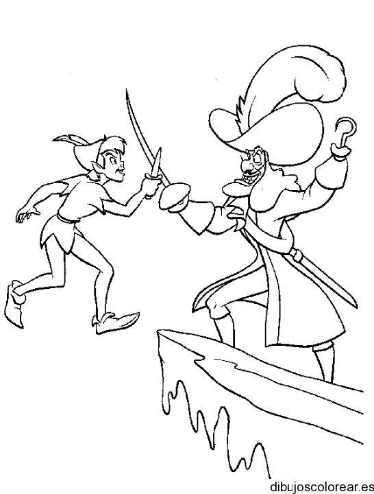 Dibujo de Peter Pan y el capitán Garfio