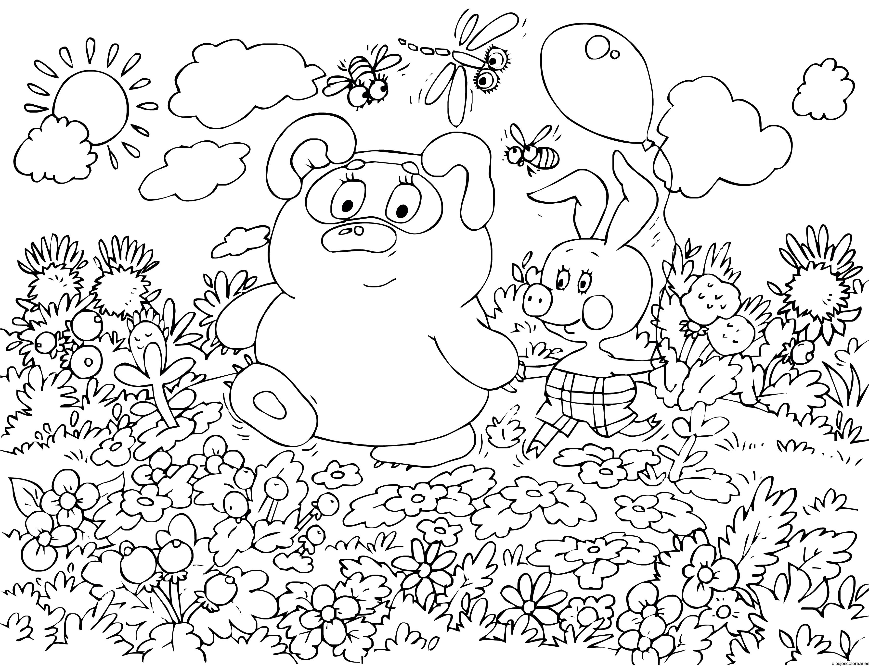 Dibujo de una pareja de animales en el bosque  Dibujos para Colorear