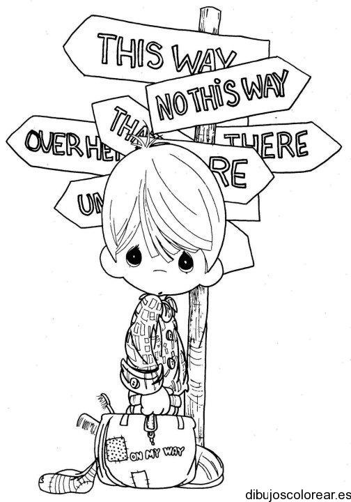 Dibujo de un niño viajero | Dibujos para Colorear