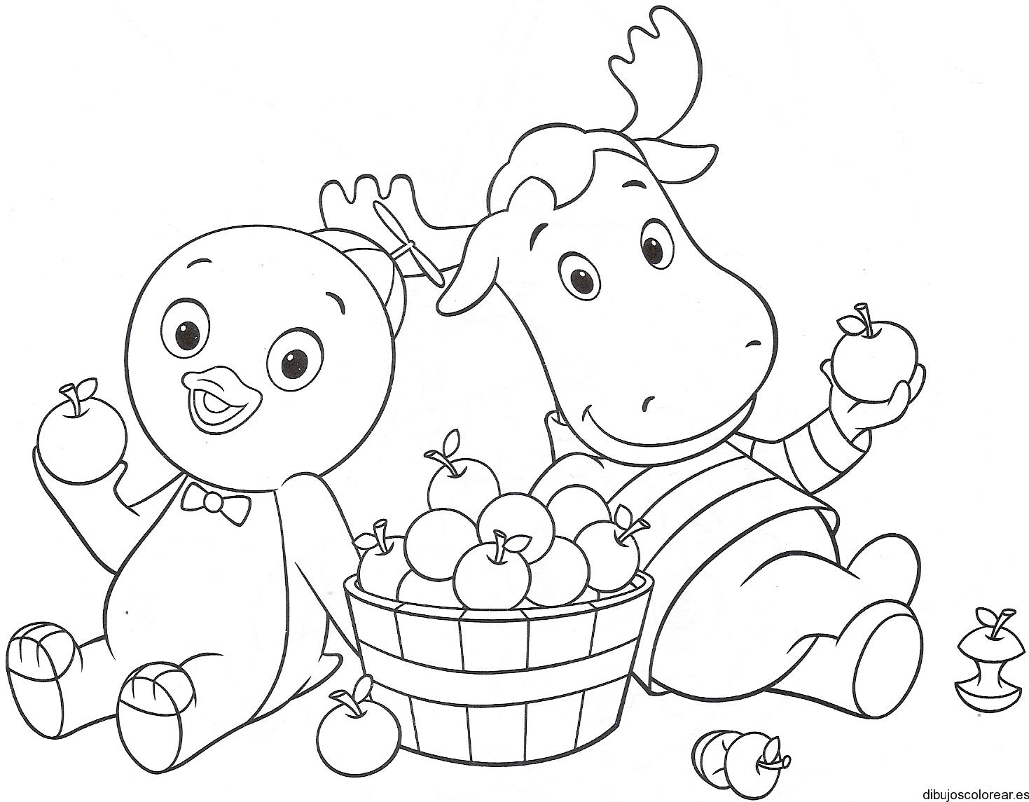Dibujo de un reno y un pollo
