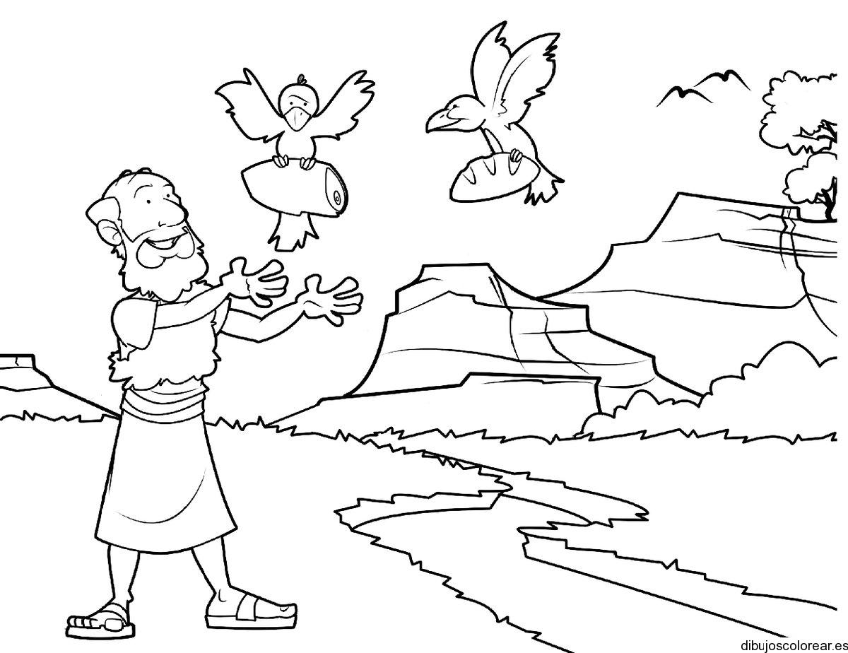 Dibujo de Noé con las aves