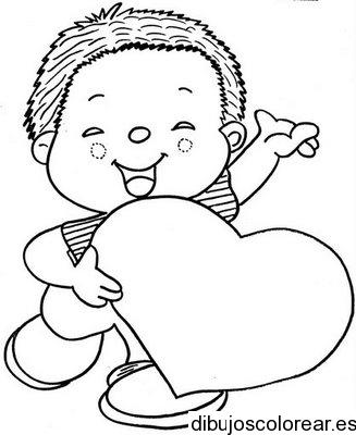 Dibujo de San Valentin niño con corazón