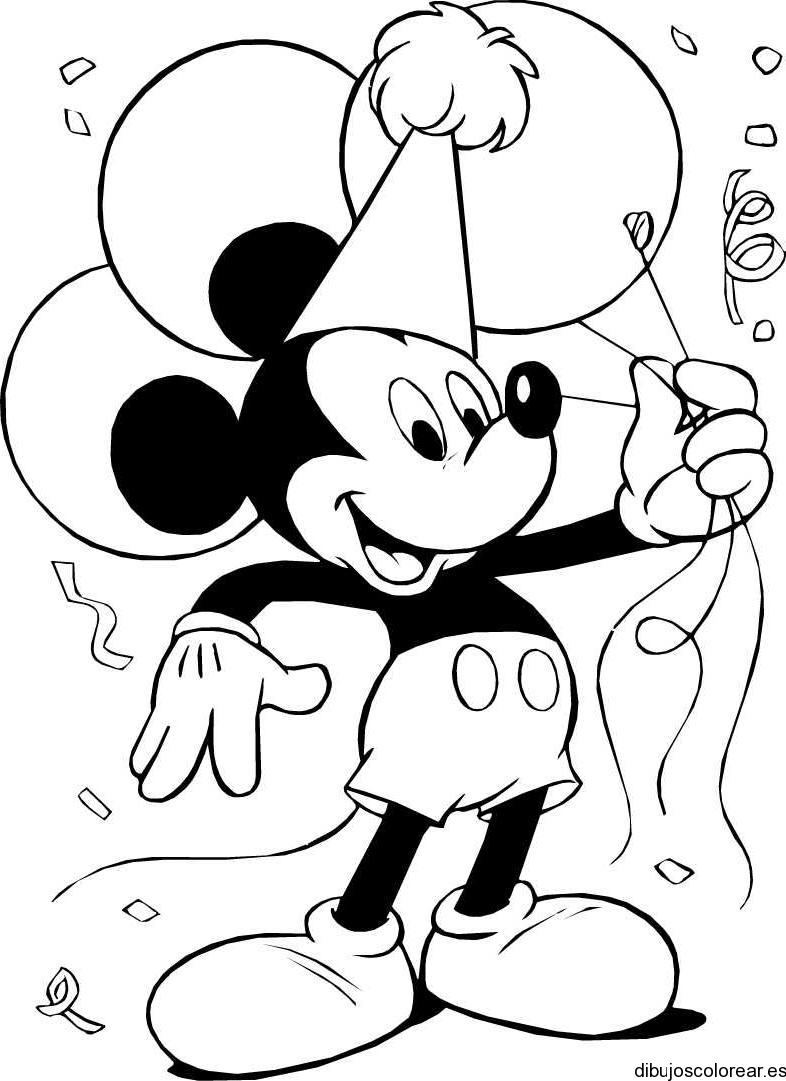 Dibujo de Mickey con un globo