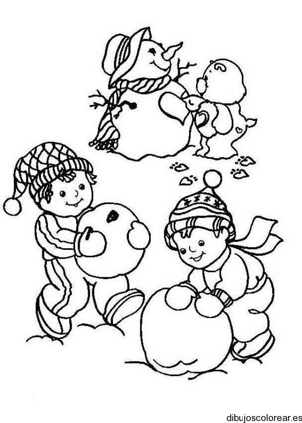 Dibujo de nios con un hombre de nieve y un oso  Dibujos para