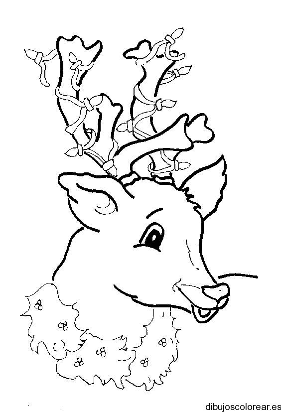 Dibujo de un reno con lazos - Renos para dibujar ...