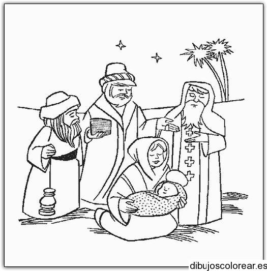 Dibujo de Reyes Magos visitando al niño Jesús
