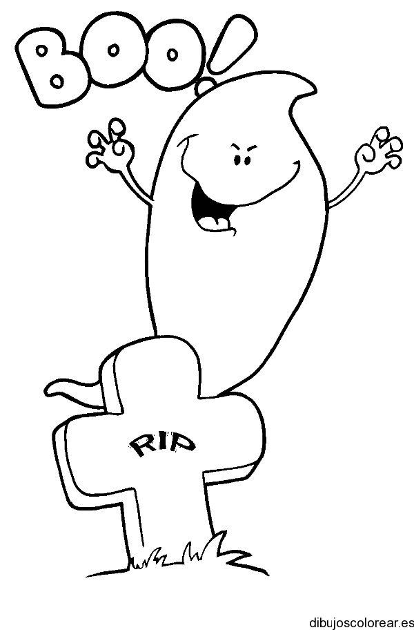 Dibujo de un fantasma asustando en el cementerio
