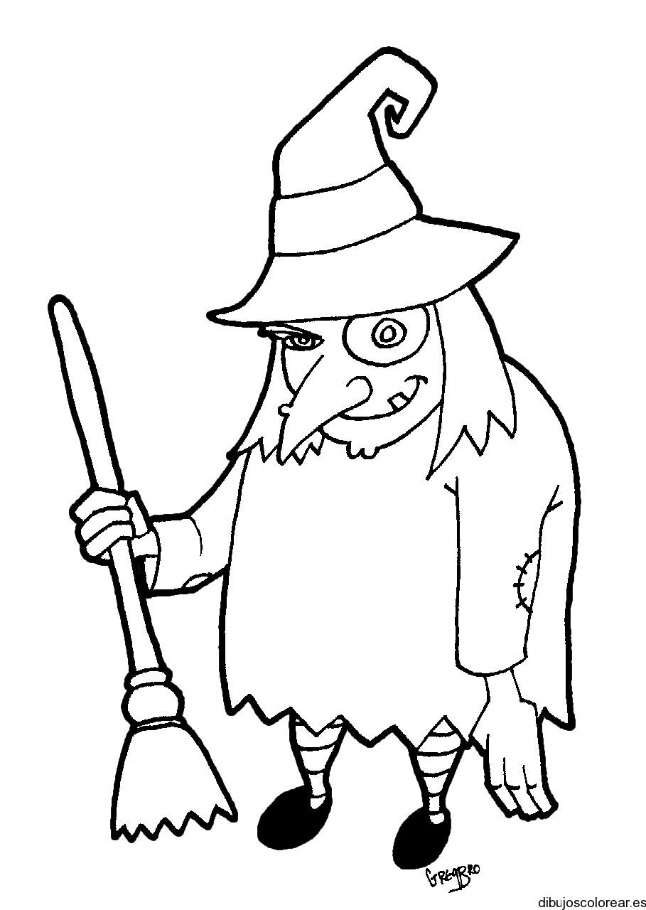 Dibujo de una bruja tuerta  Dibujos para Colorear