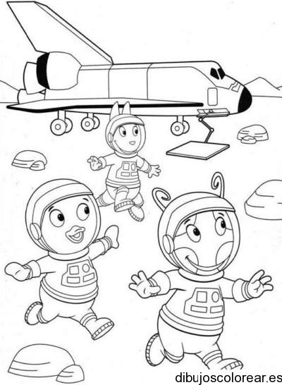 Dibujo de backyardigans en una nave espacial