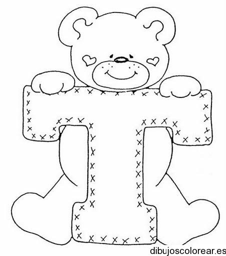 Dibujo de un oso con la letra T  Dibujos para Colorear
