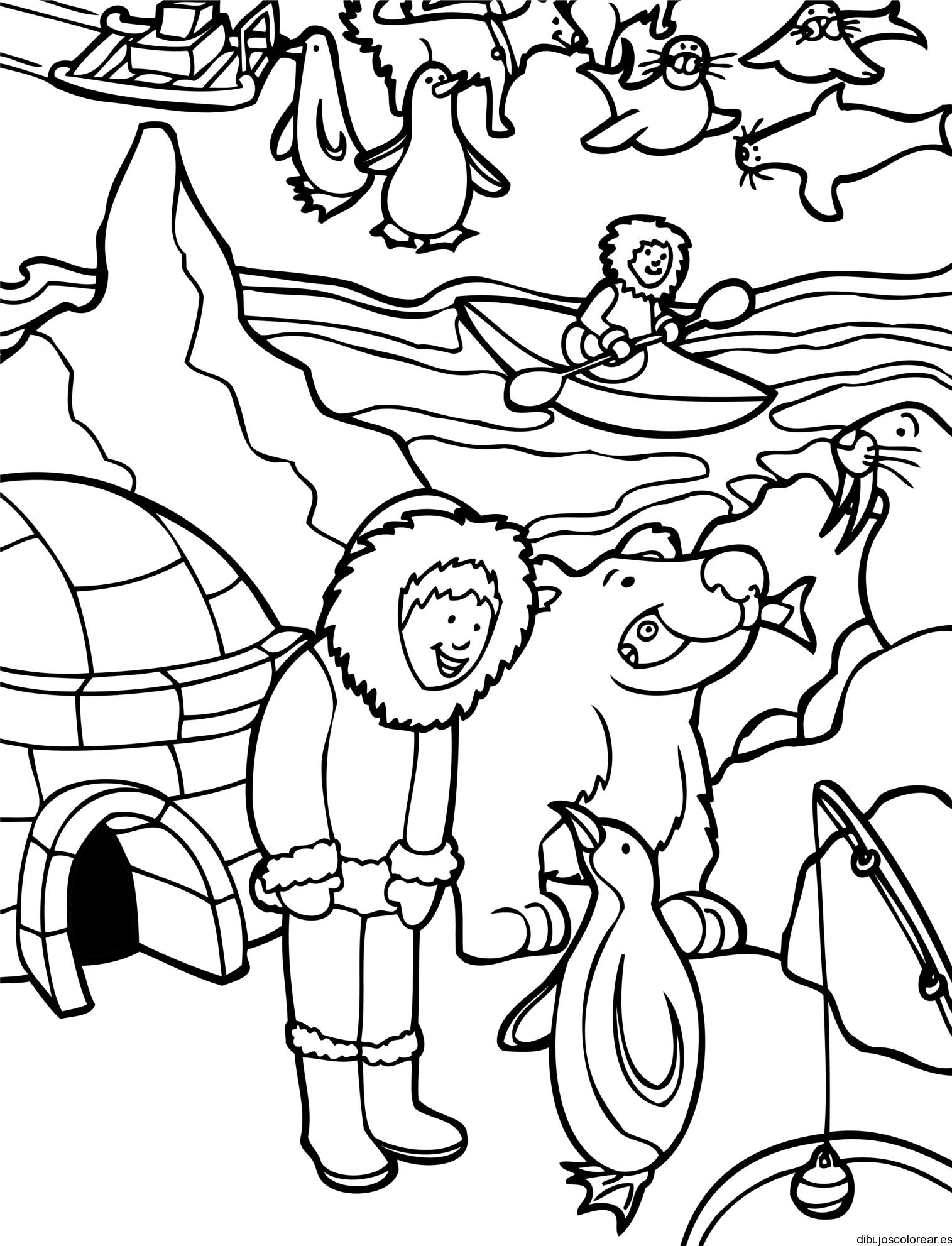 Dibujo de una familia en polo