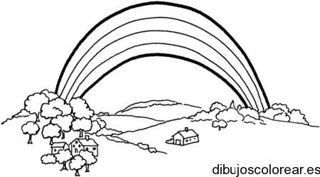 Worksheet. Dibujo de un paisaje con arcoiris  Dibujos para Colorear