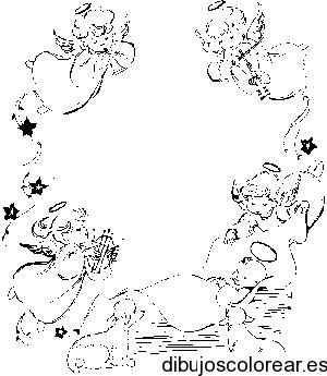 Worksheet. Dibujo de angelitos con instrumentos msicales  Dibujos para Colorear