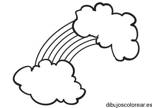 Dibujo De Dos Nubes Y El Arcoiris