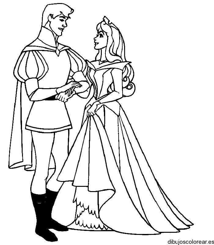 Dibujo de la princesa Aurora y su principe  Dibujos para Colorear