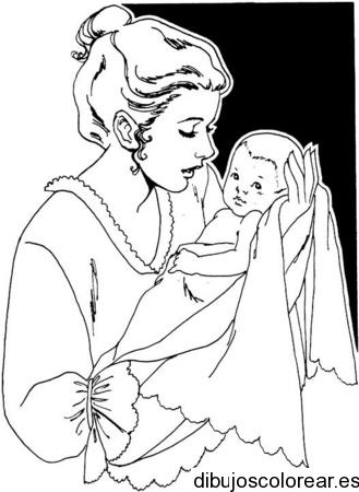 Dibujo de mamá y un niño