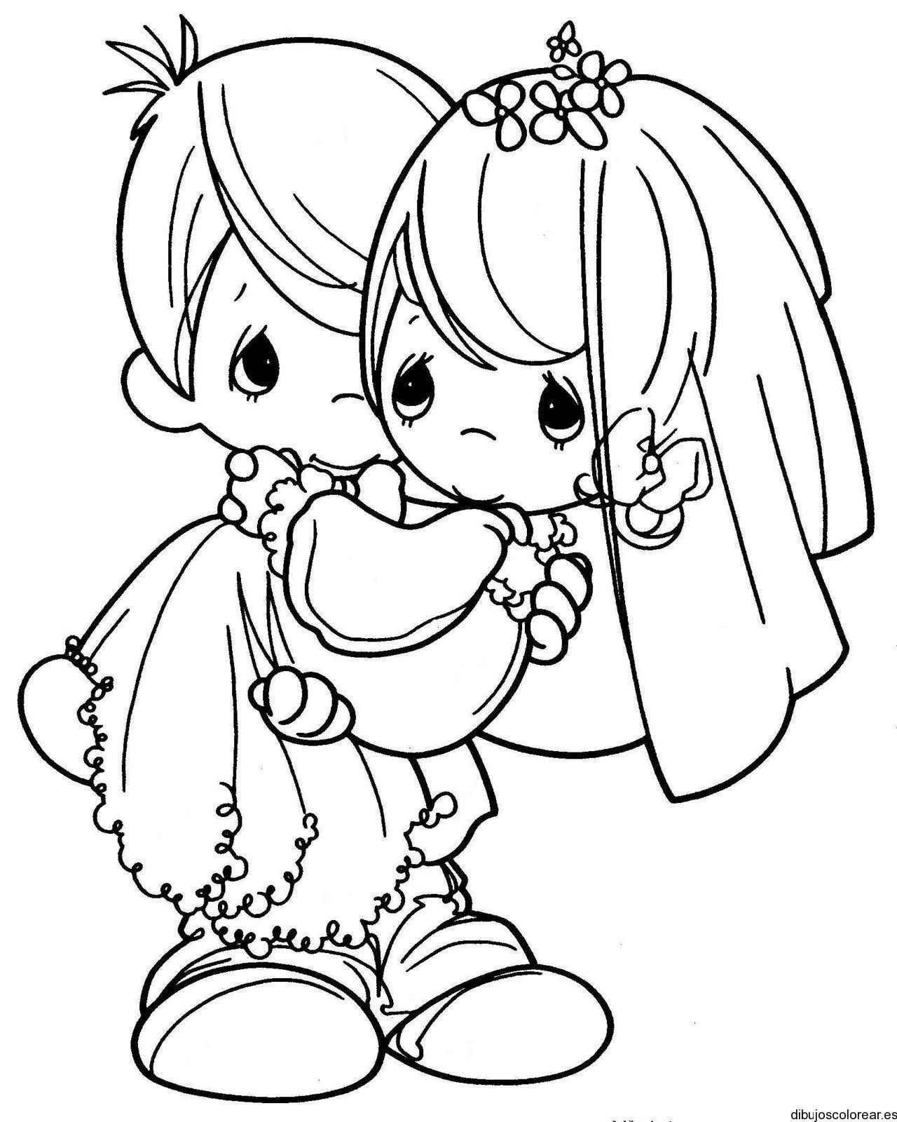Dibujo de una pareja en su boda  Dibujos para Colorear