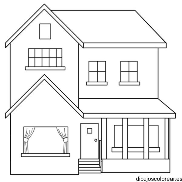 Dibujo de una casita de dos niveles