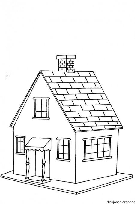 Dibujo de una casa con tejas