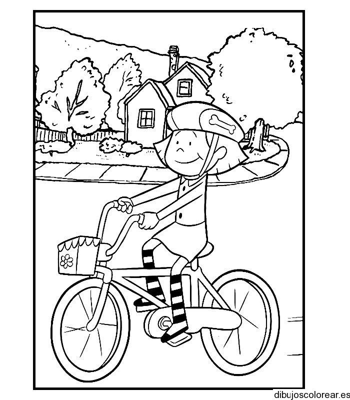 Dibujo de niña en bicicleta