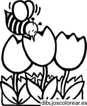 Dibujo De Una Abeja En Las Flores