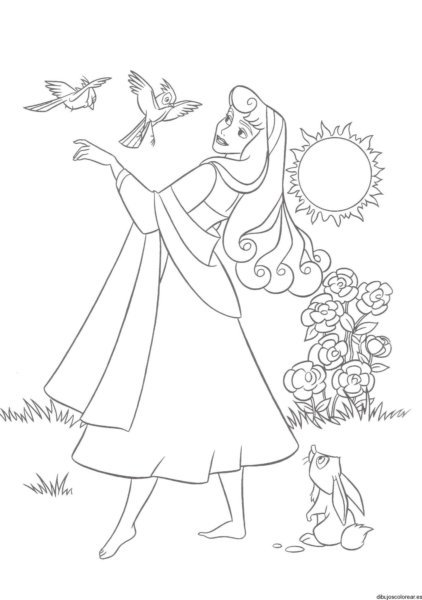 Dibujo de Aurora en el Jardín con pájaros