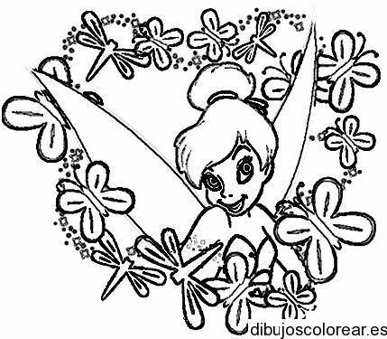 Dibujo de Campanita entre flores