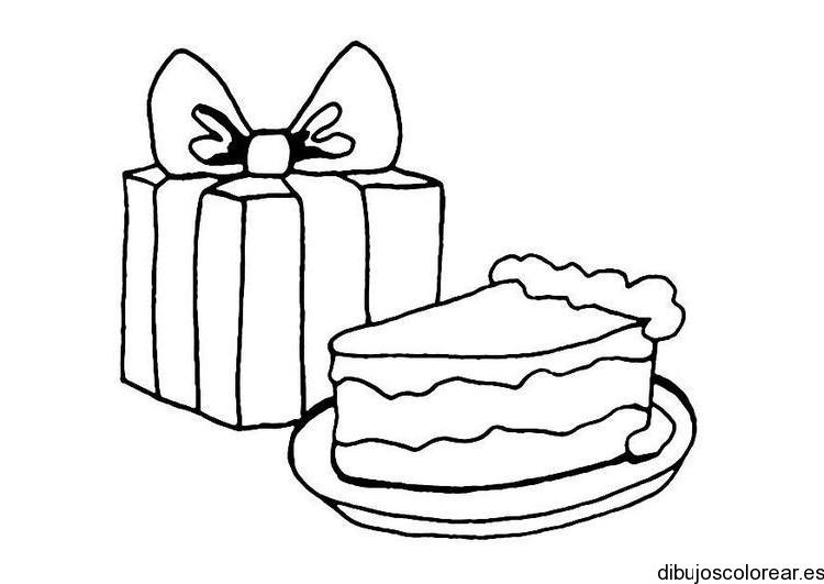 Dibujo de un pastel y un regalo