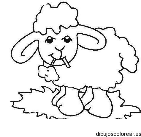 Dibujo de una oveja comiendo unas hojas