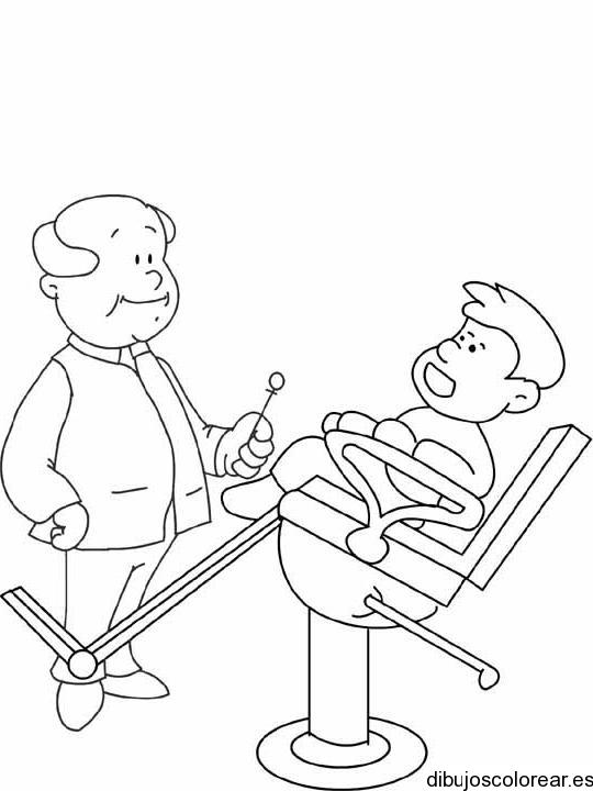 Dibujo de un niño con el dentista