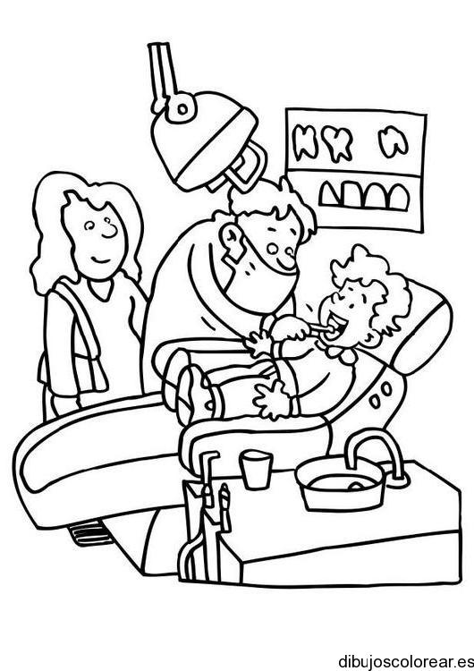 Dibujo de un niño en el dentista