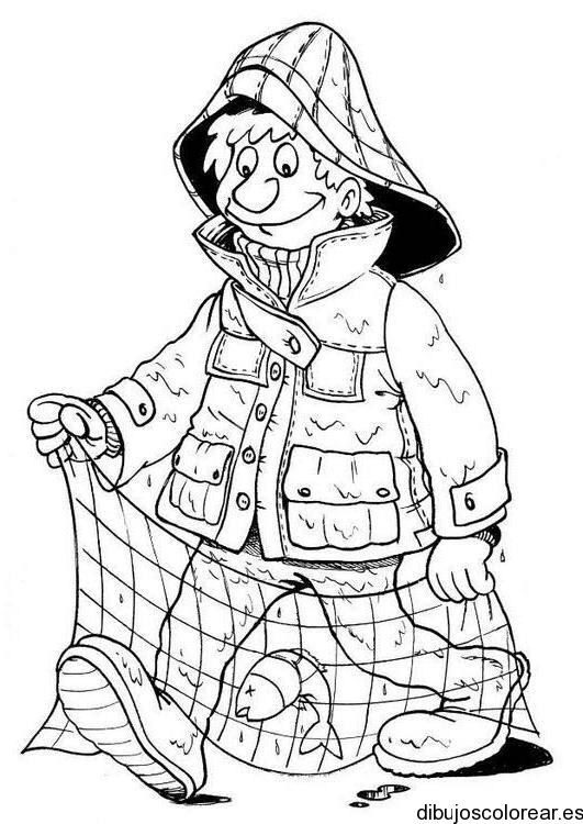 Dibujo de un pescador con red  Dibujos para Colorear
