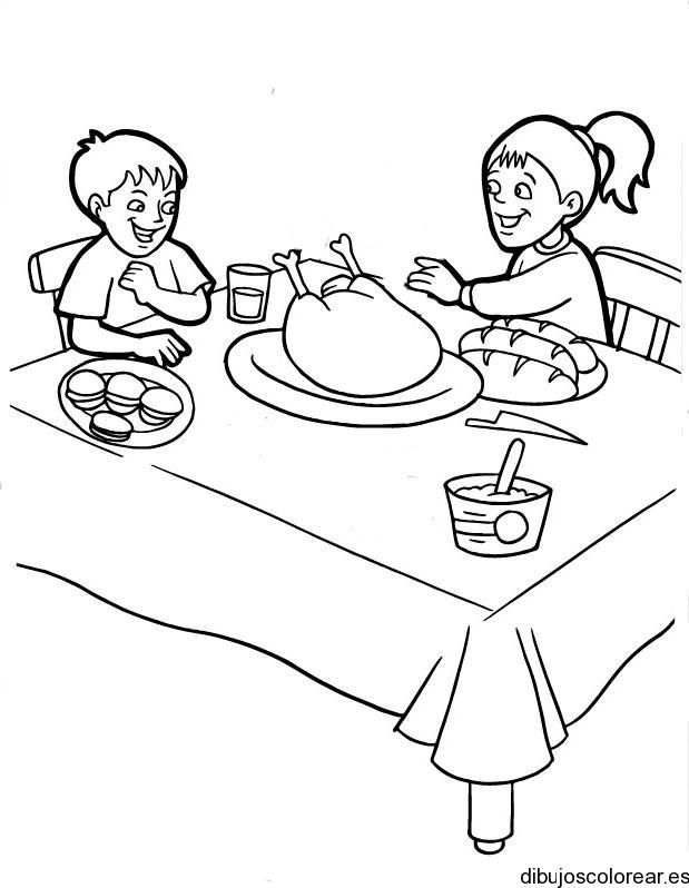 Dibujos de dos niños comiendo | Dibujos para Colorear