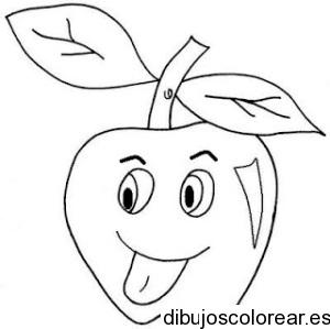 Dibujo de una manzana sacando la lengua