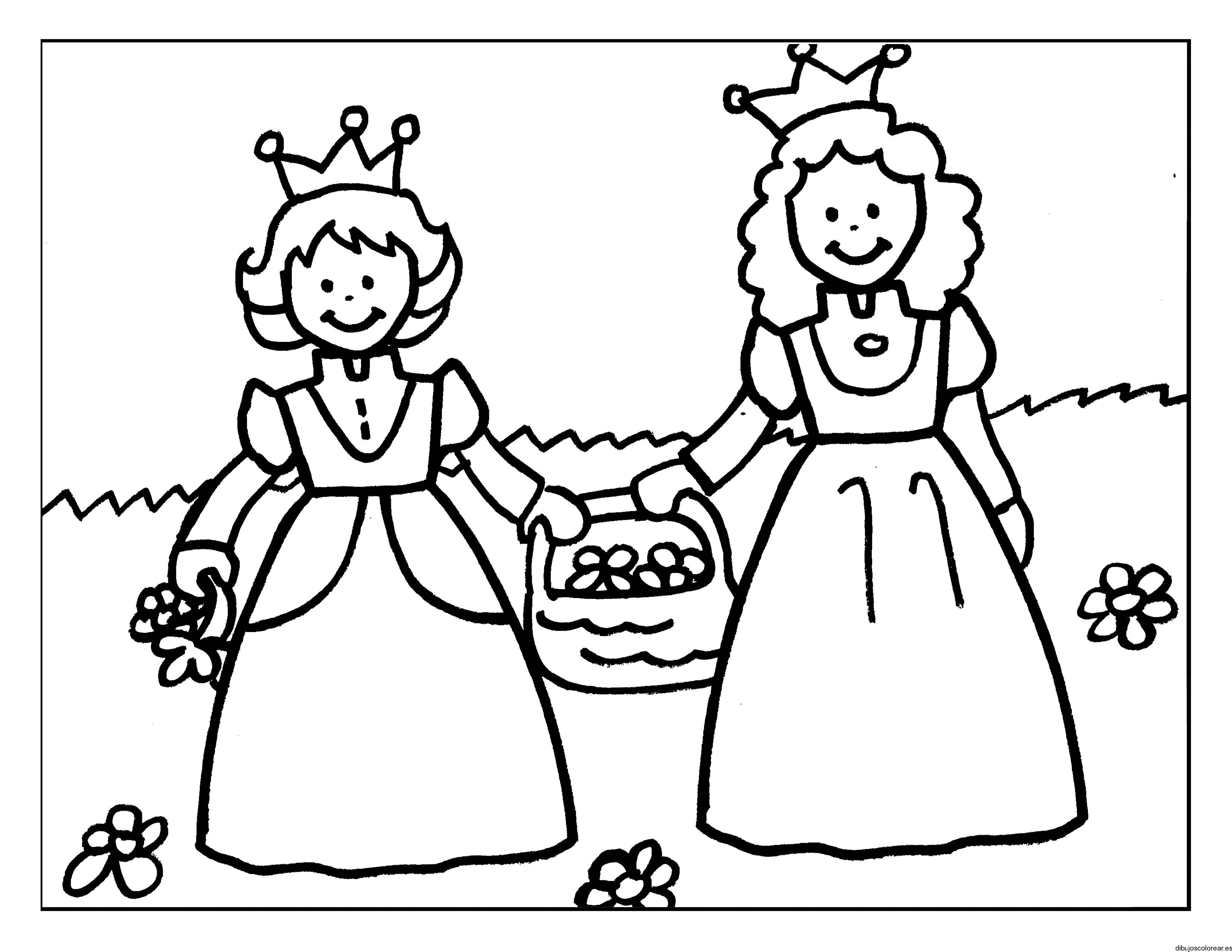 Dibujos De Principes Y Princesas Para Colorear: Dibujo De Dos Príncesas