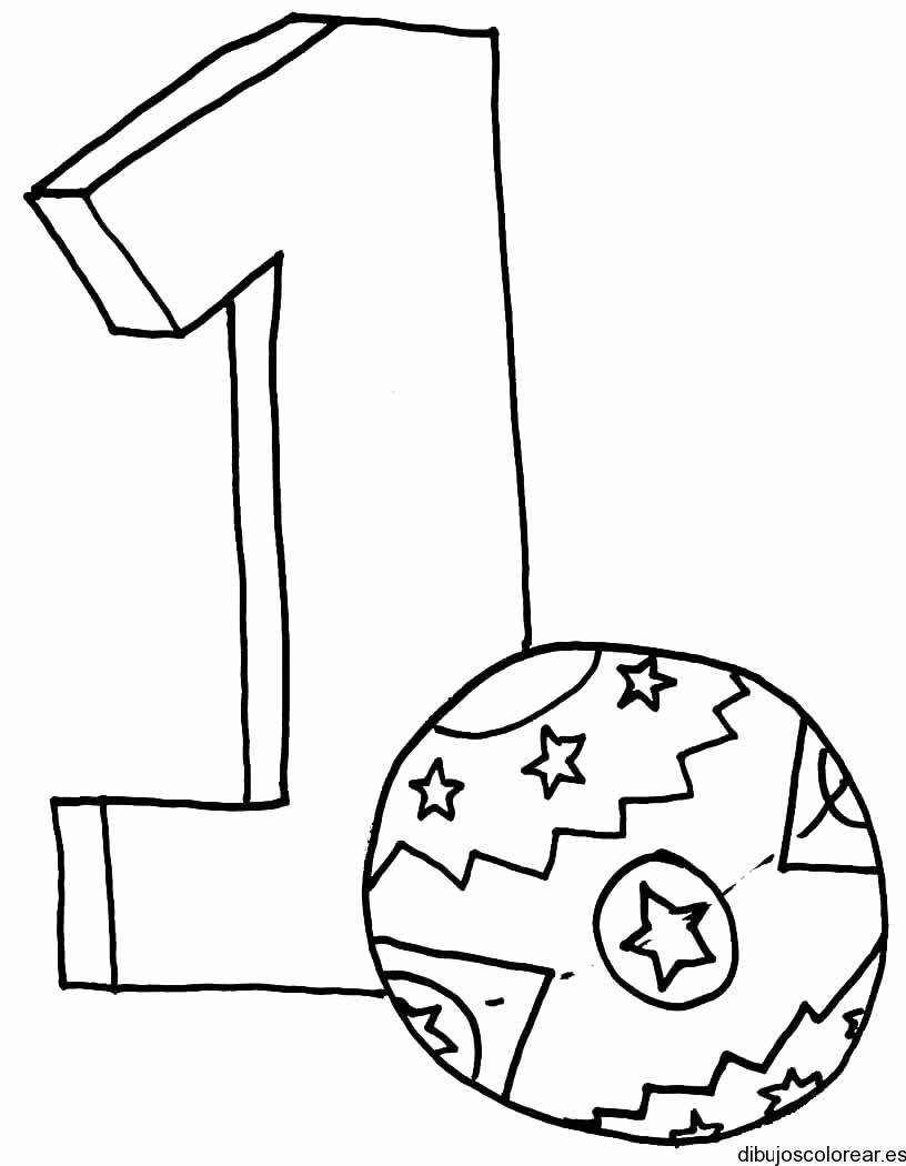 Dibujo del número 1 con un balón