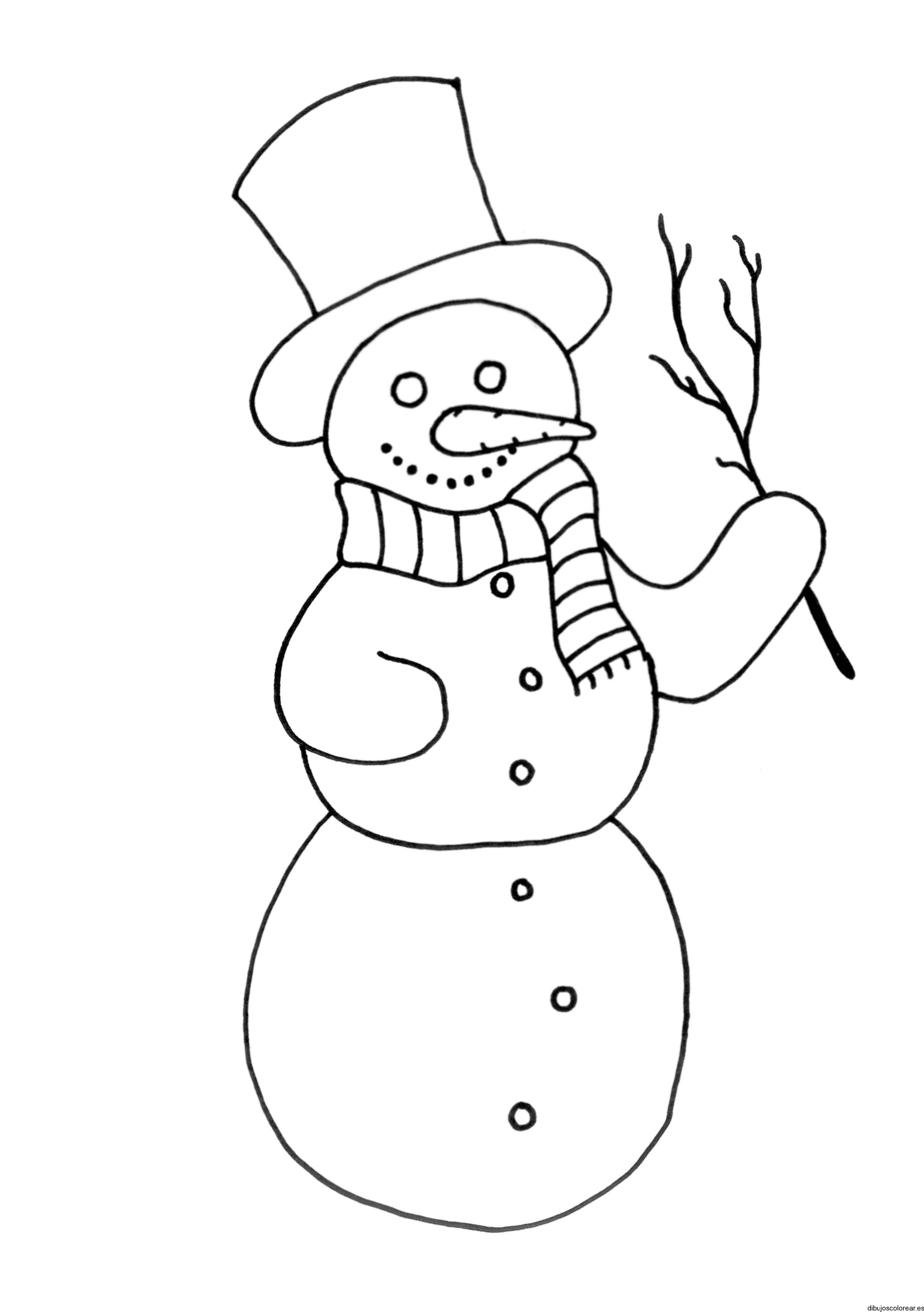 Dibujo de un hombre de nieve con una rama
