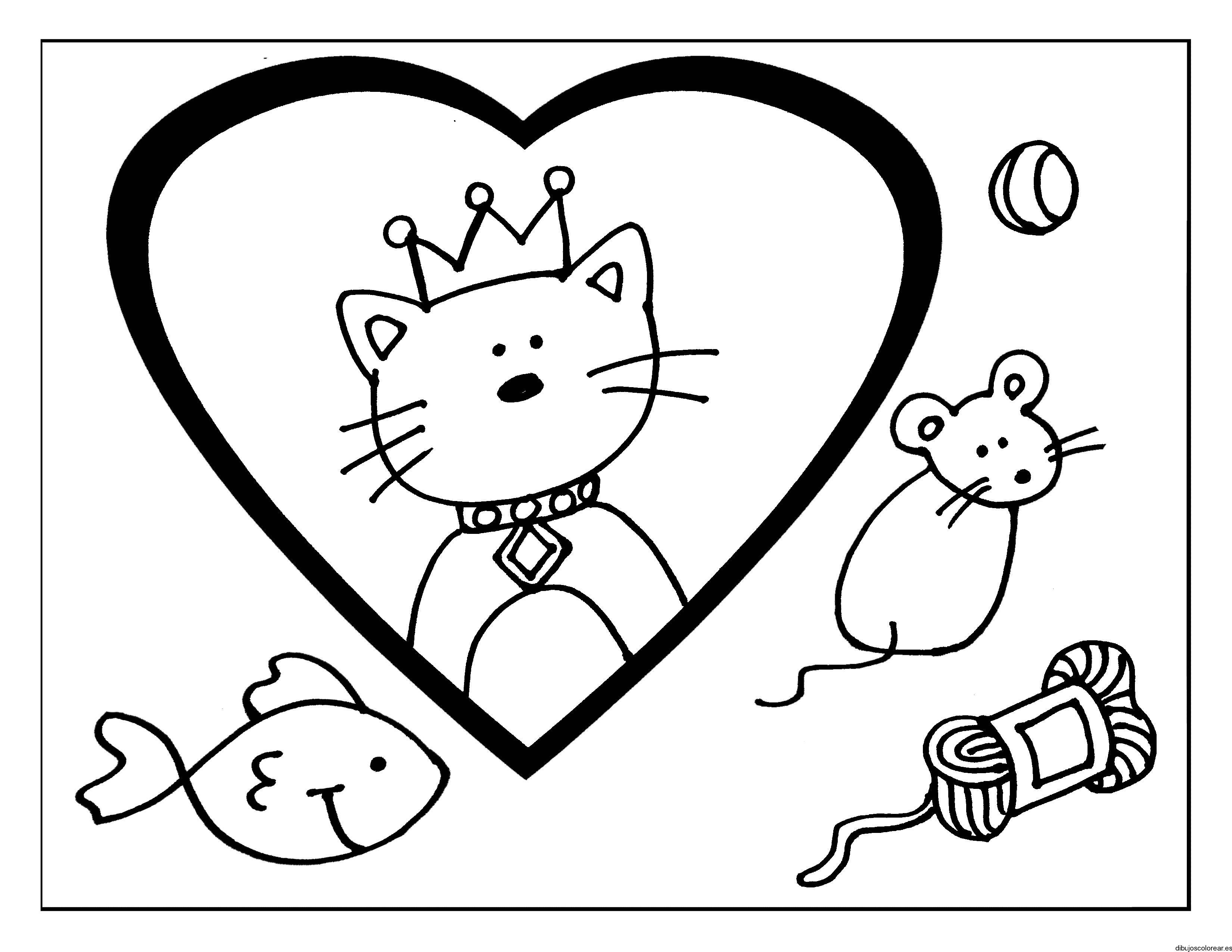 Dibujo de un gato con corona