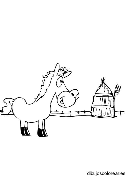 Dibujo de un caballo y una choza | Dibujos para Colorear