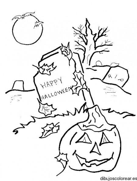 dibujo-colorear-graveyard-w-pumpkin