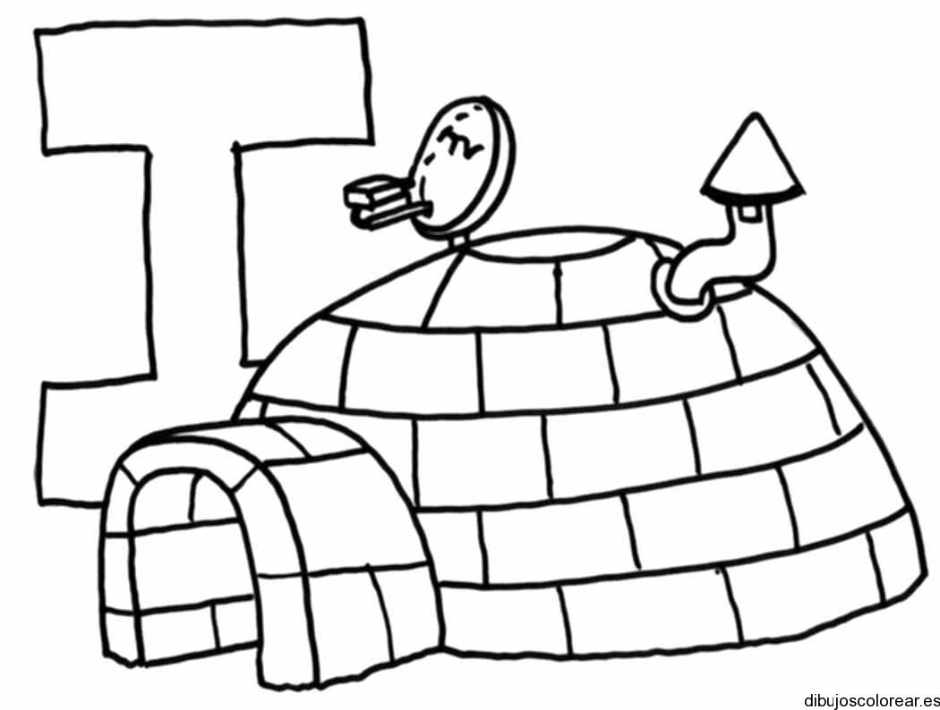 Dibujo de la letra I en un igl  Dibujos para Colorear
