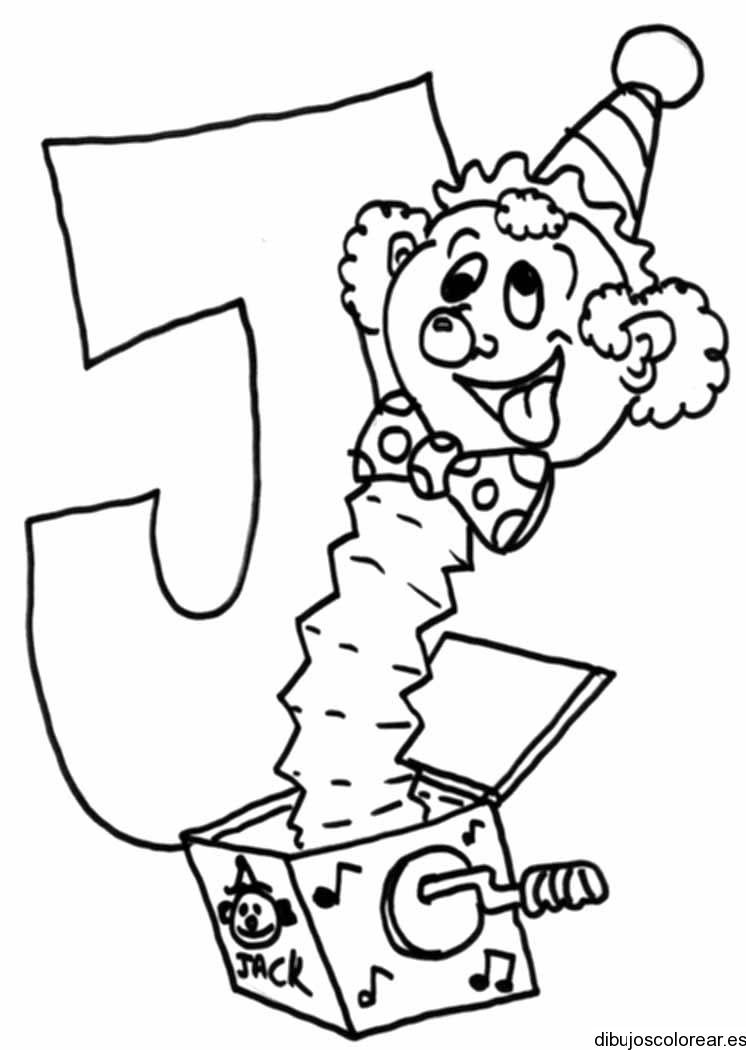 Dibujo de la letra J y un títere