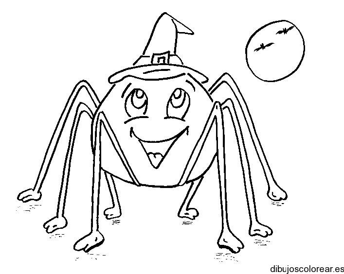 Dibujo de una araa con sombrero  Dibujos para Colorear