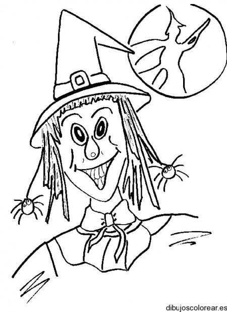 dibujo-colorear-witch-w-moon