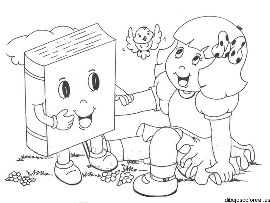 Dibujo De Una Niña Con Un Libro