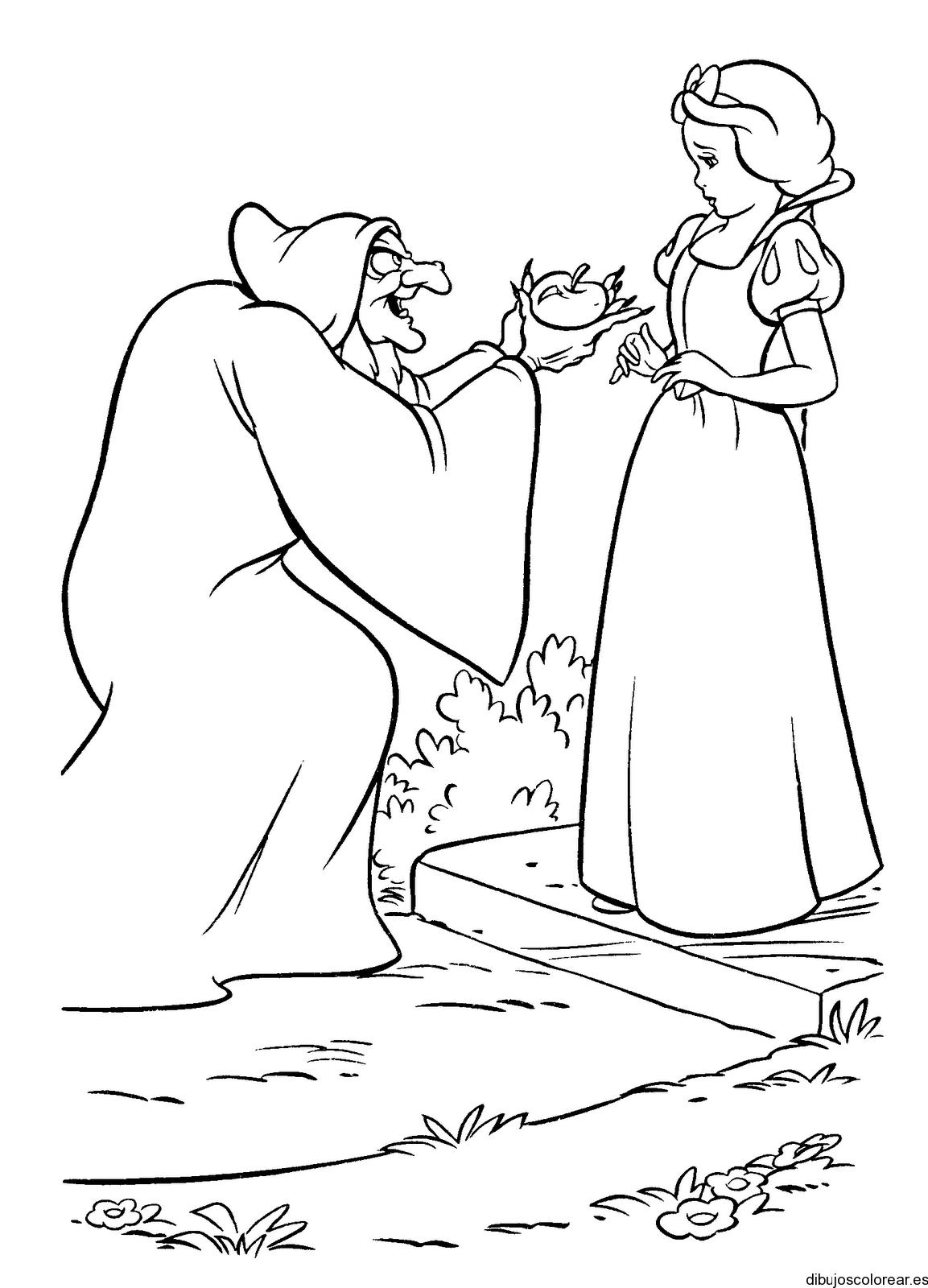 Dibujo de Blancanieves y la bruja con manzana  Dibujos para Colorear