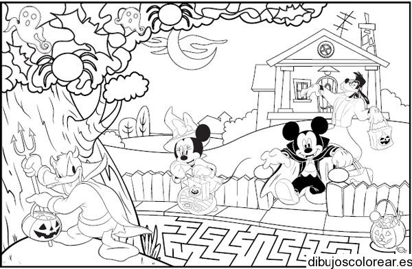 Dibujo de Mickey Mouse en noche de brujas