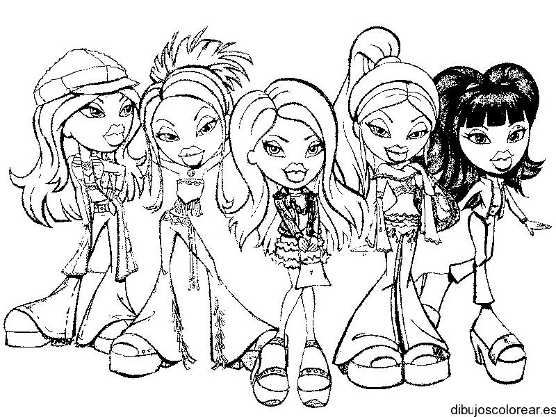 Dibujo de las amigas Bratz  Dibujos para Colorear