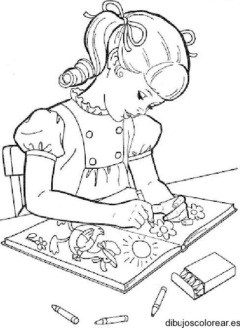 Dibujos para colorear de niño y niña estudiando - Imagui